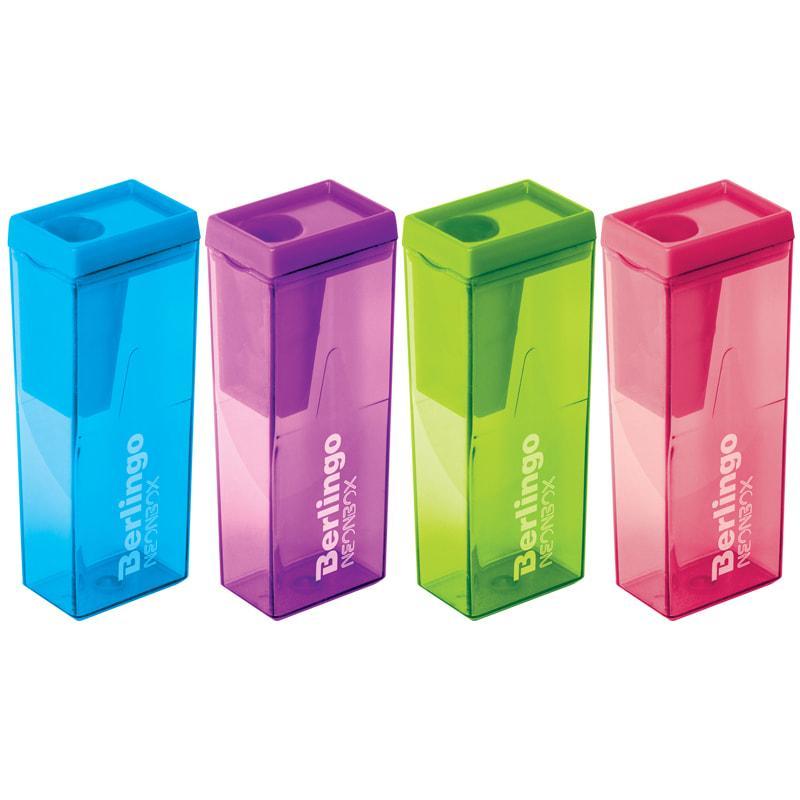 """Точилка пластиковая Berlingo """"NeonBox"""", 1 отверстие, контейнер, ассорти"""