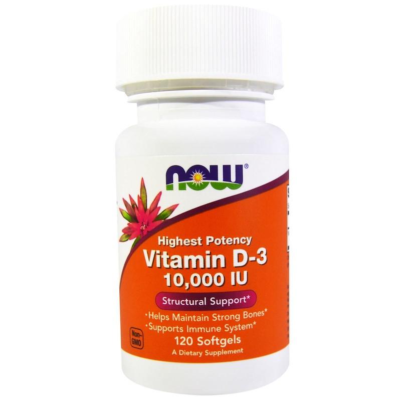 Now Foods, Витамин D3, 10 000 МЕ, 120 мягких желатиновых капсул