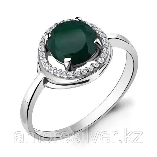 Кольцо из серебра с фианитом и агатом зелёным    Aquamarine 6535309А размеры - 16,5