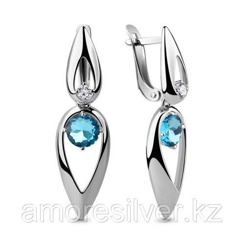 Серебряные серьги с фианитом и стеклом   Aquamarine 46045101Н