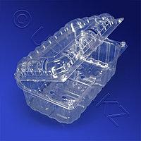 Kazakhstan Контейнер пластиковый 1300мл PET прозрачный с нераздельной крышкой перфорация 18,8х11,5х8,0см 240 шт/кор ПР-РКФ-800 ПЭТ