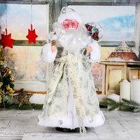 Дед Мороз 'В белой шубке с подарками' 43 см, двигается, с подсветкой, без музыки