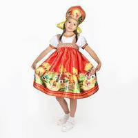 Карнавальный костюм 'Русские сказки', платье-сарафан, кокошник, р. 32, рост 122-128 см