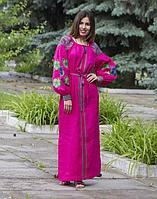 Платье Барвінок лён ДР Д-88-3 длина малина