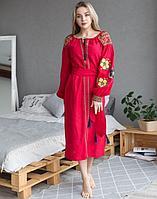 Платье Барвінок лён ДР Д-88-2 длина красный