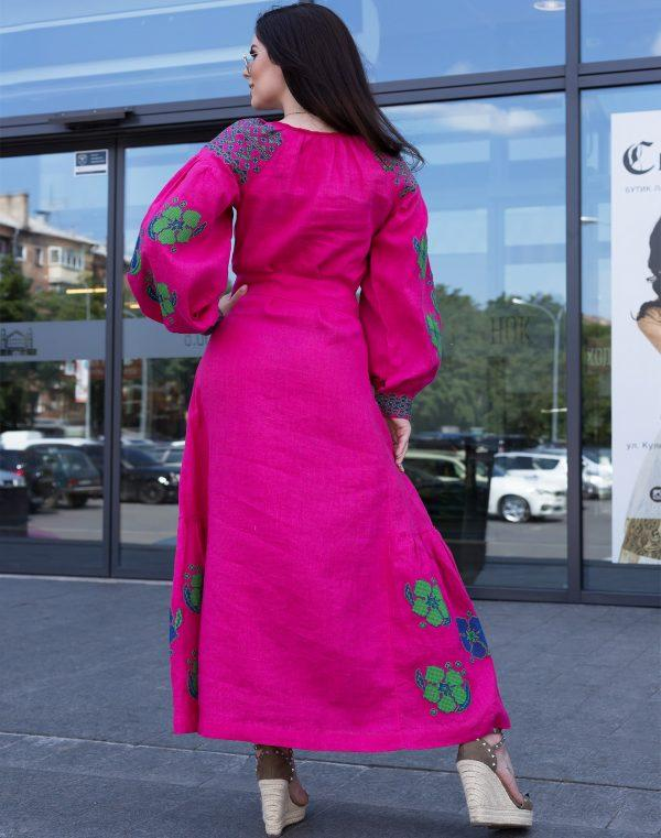 Платье Барвінок лён ДР Д-88-4 длина малина - фото 2
