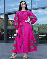 Платье Барвінок лён ДР Д-88-4 длина малина