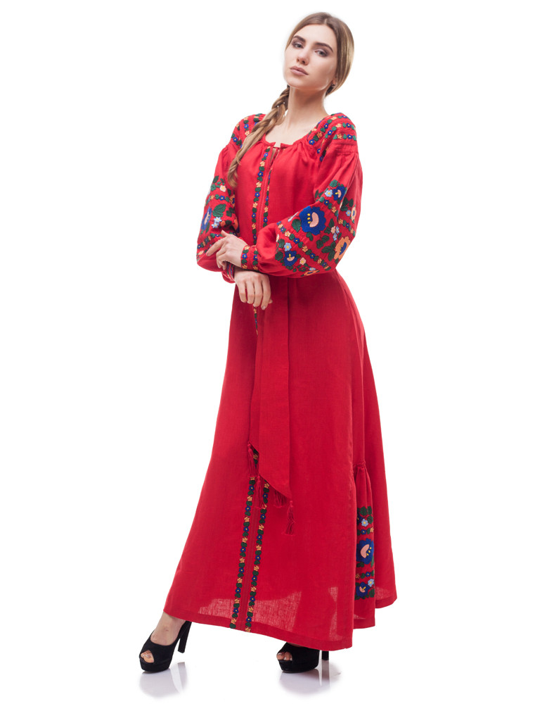 Платье Борщівські барви Д-88-3 поплин красный - фото 4