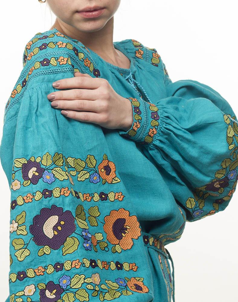 Платье Борщивськи барви лён Д-88-1 бирюза - фото 4