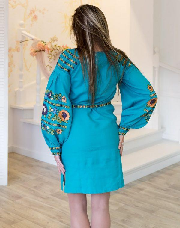 Платье Борщивськи барви лён Д-88-1 бирюза - фото 3