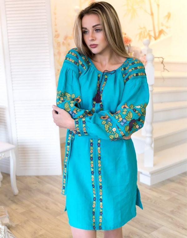 Платье Борщивськи барви лён Д-88-1 бирюза - фото 2