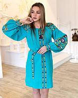 Платье Борщивськи барви лён Д-88-1 бирюза