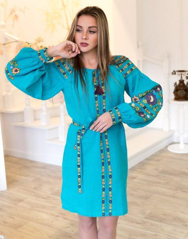 Платье Борщивськи барви лён Д-88-1 бирюза - фото 1