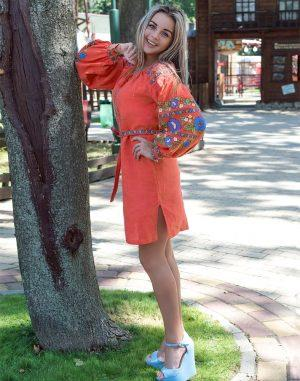 Платье Борщивськи барви лён Д-88-1 персик - фото 2