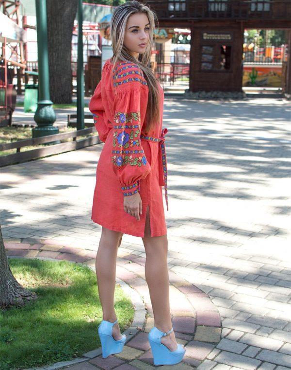 Платье Борщивськи барви лён Д-88-1 персик - фото 3