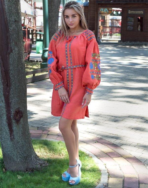 Платье Борщивськи барви лён Д-88-1 персик - фото 1