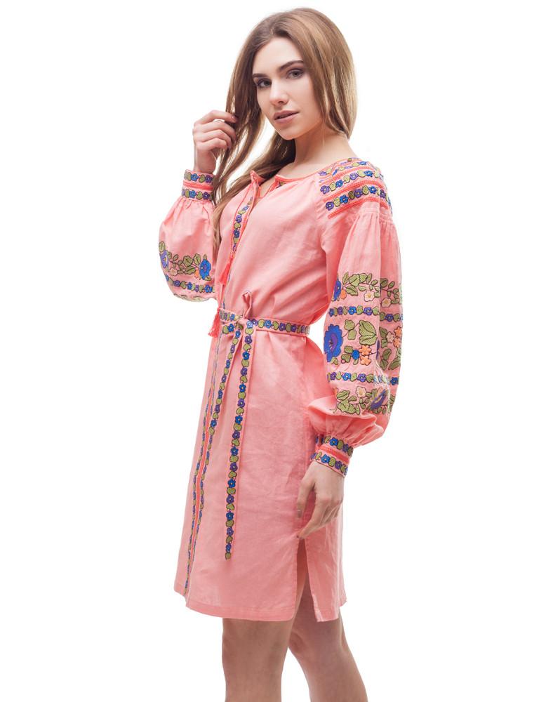 Платье Борщивськи барви лён Д-88-1 персик - фото 4