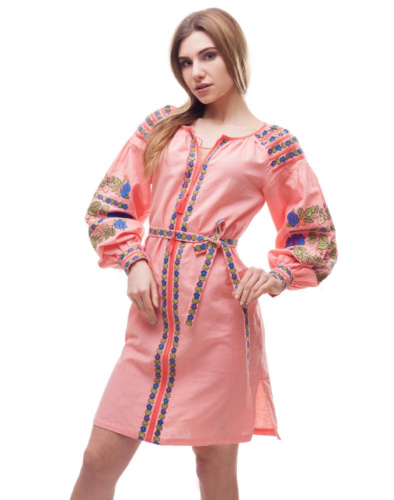 Платье Борщивськи барви лён Д-88-1 персик - фото 6