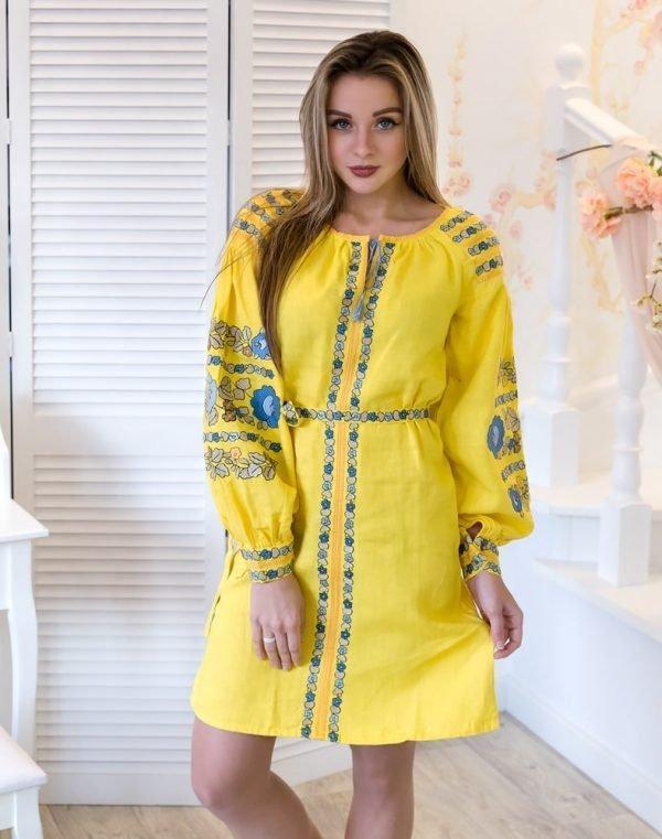 Платье Борщивськи барви лён Д-88-1 жёлтый - фото 1