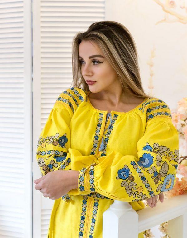 Платье Борщивськи барви лён Д-88-1 жёлтый - фото 3
