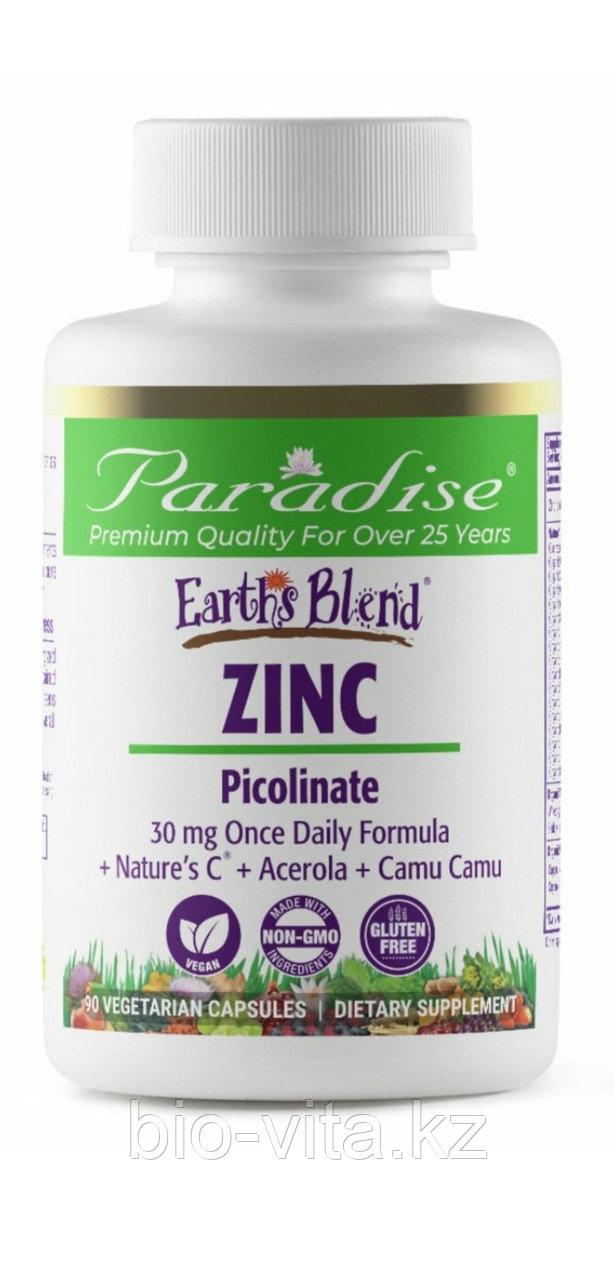 Earth's Blend, Zinc Цинк пиколинат 30 мг 90 капсул. Усиленный  компонентами для иммунной системы.