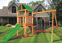 Детская игровая площадка BABYGARDEN PLAY 1 LG с качелями и светло-зеленой горкой