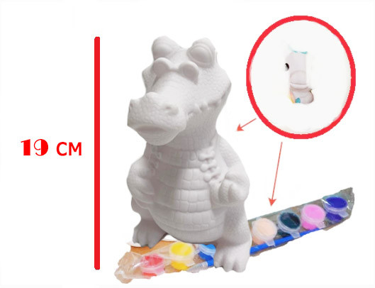 Набор для детского творчества копилка раскраска Крокодил, кисточка и краски 8 цветов - фото 6