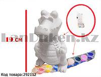 Набор для детского творчества копилка раскраска Крокодил, кисточка и краски 8 цветов