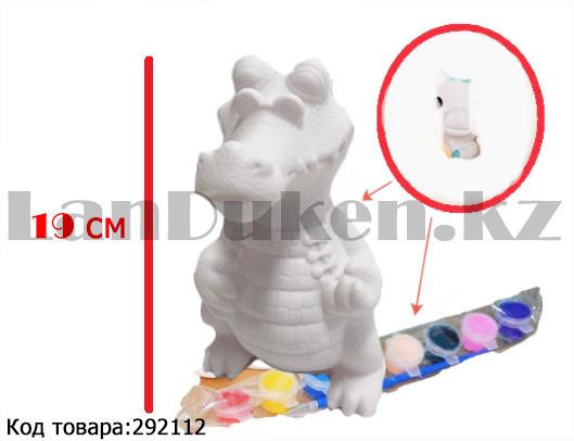 Набор для детского творчества копилка раскраска Крокодил, кисточка и краски 8 цветов - фото 1