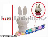 Набор для детского творчества копилка раскраска Зайчик, кисточка и краски 8 цветов