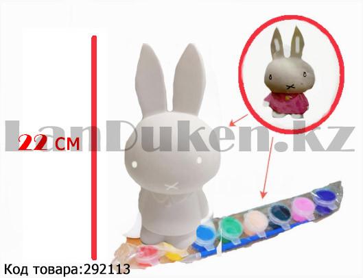 Набор для детского творчества копилка раскраска Зайчик, кисточка и краски 8 цветов - фото 1