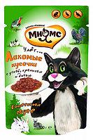 Влажный корм для кошек Мнямс Пир охотника утка, кролик, дичь кусочки в соусе (паучи)
