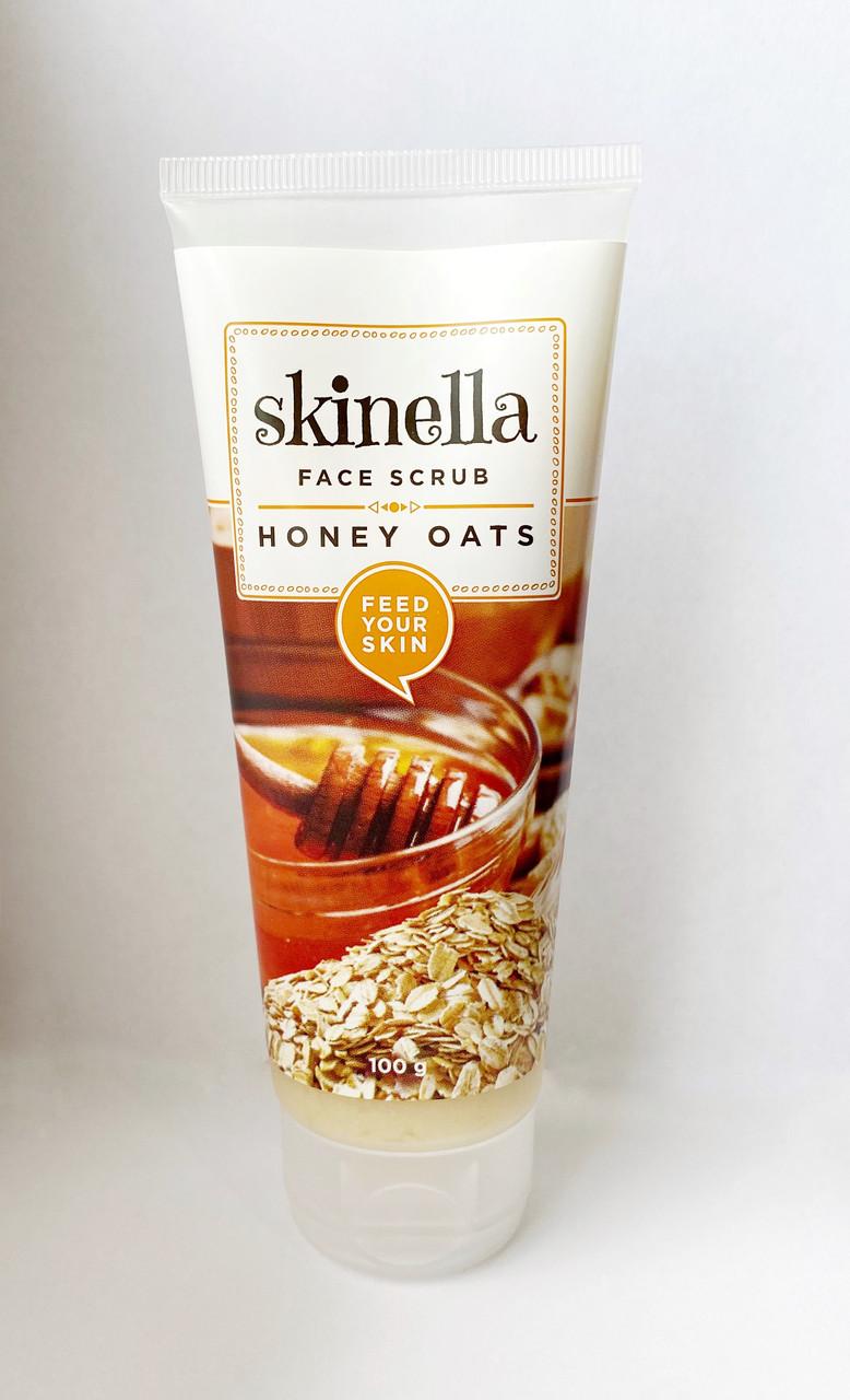 Скраб для лица мед и овес, 100 гр, Skinella