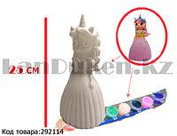 Набор для детского творчества копилка раскраска Принцесса Единорог, кисточка и краски 8 цветов