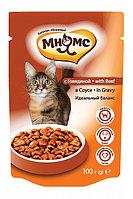 Влажный корм для кошек Мнямс Идеальный баланс с говядиной в соусе (паучи)