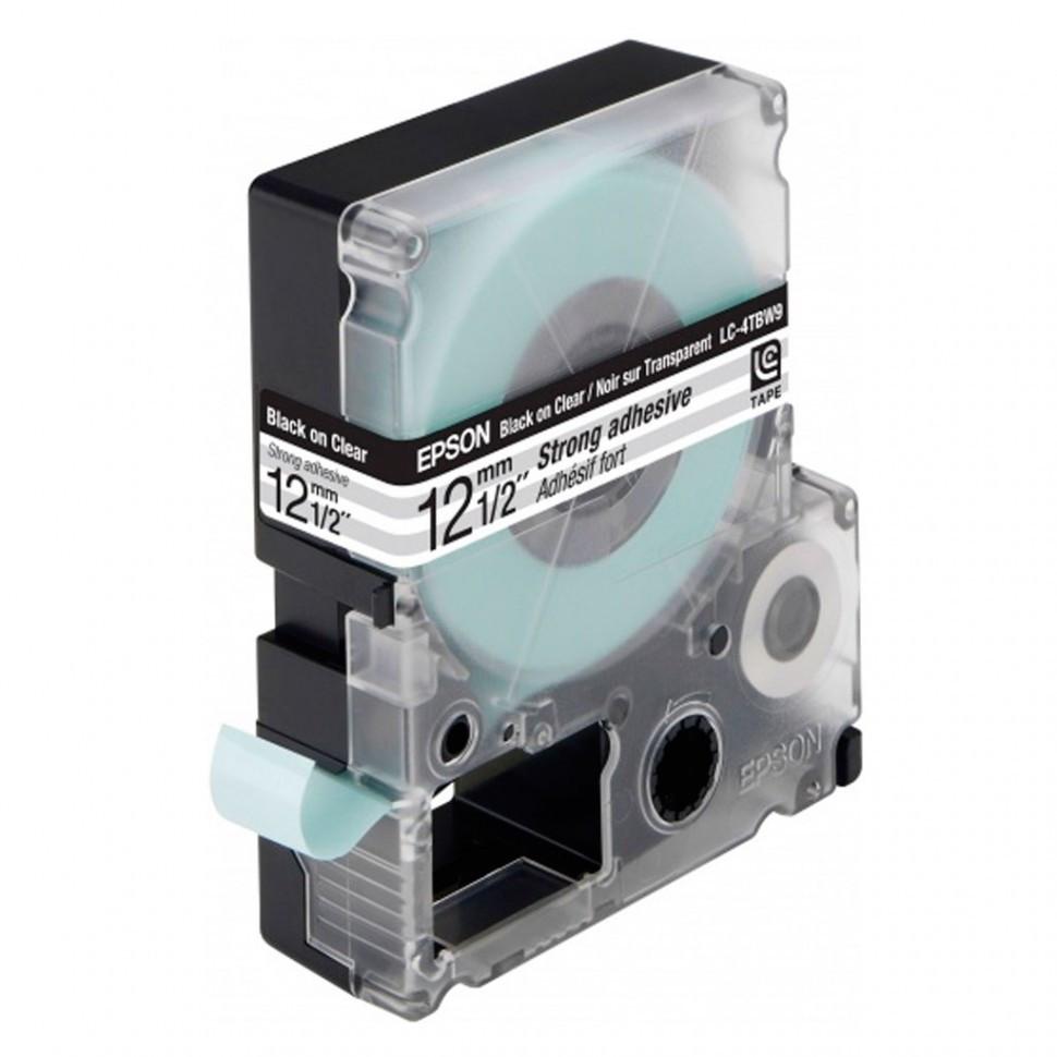 Лента Epson C53S654015 LK4TBW Повышенной адгезии 12мм, Прозрач./Черн., 9м