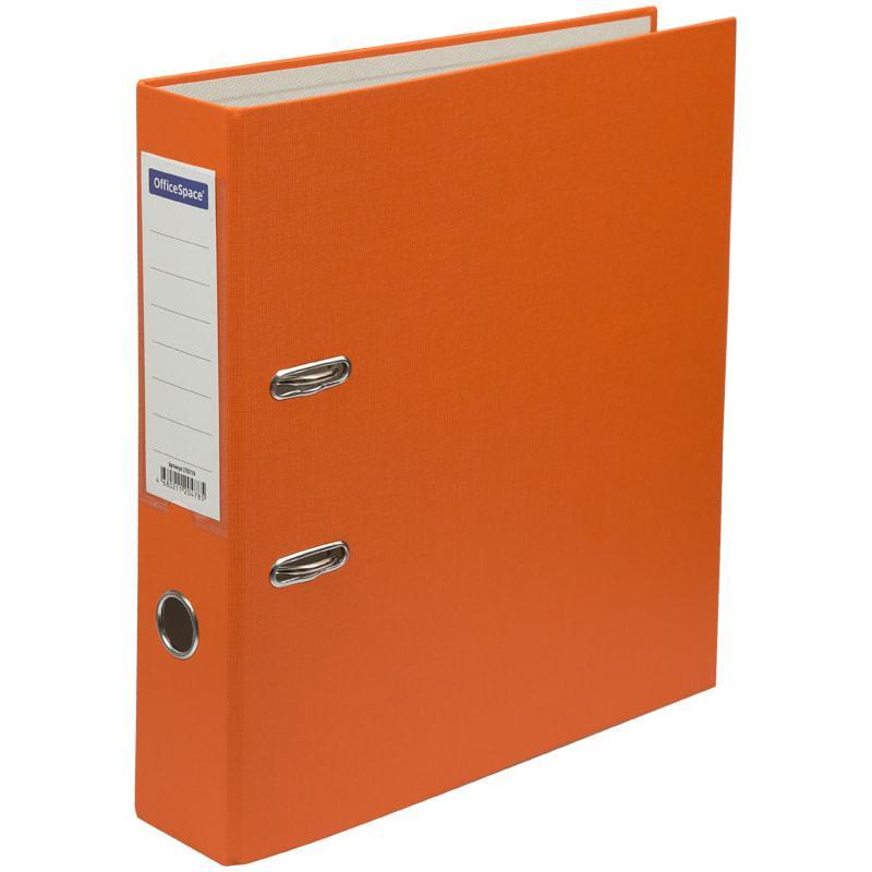 Папка-регистратор OfficeSpace, 70мм, бумвинил, с карманом на корешке, оранжевая