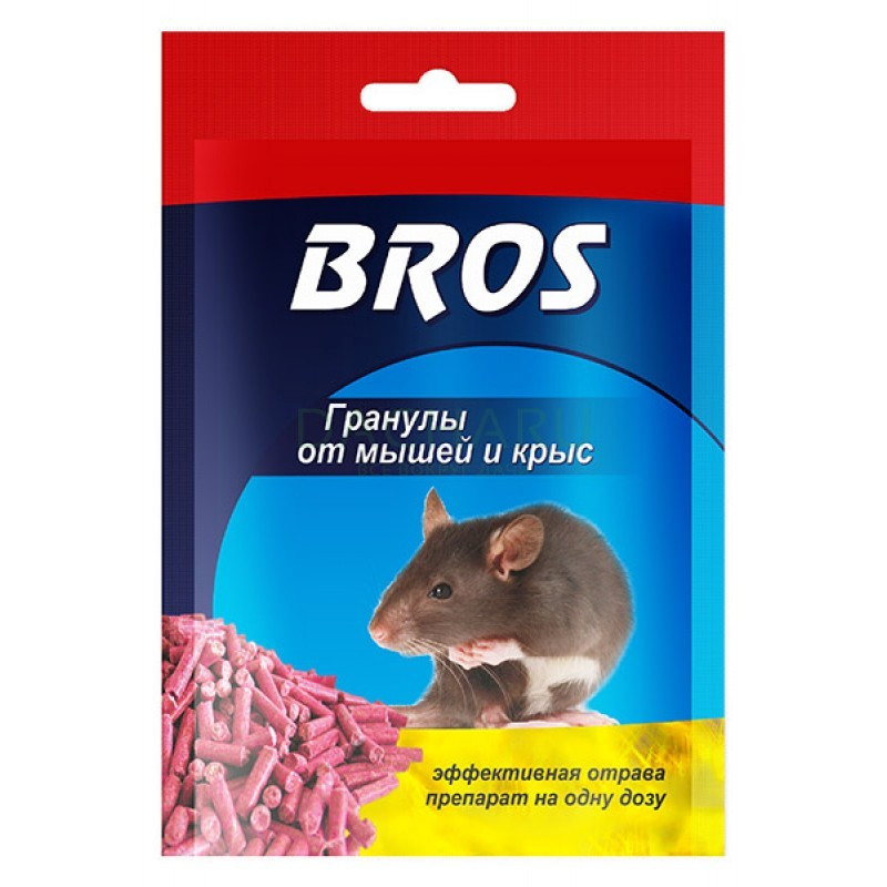 Гранулы от мышей и крыс  - Bros Брос  90гр.