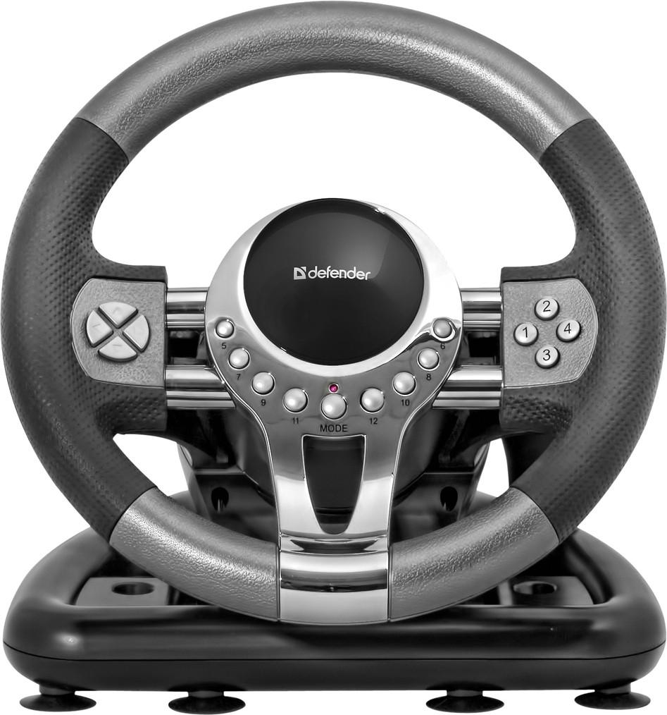 Руль игровой Defender FORSAGE GTR (Black-Silver)