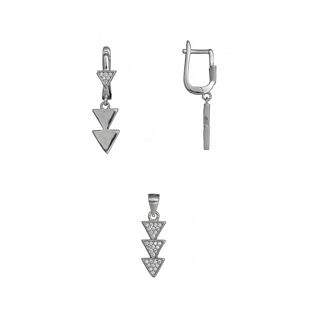 """Серебряный комплект (набор) """"Треугольники"""". Вставка: белые фианиты, вес: 5 гр, размер: 16, покрытие"""
