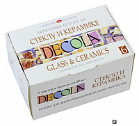 Акриловые краски по стеклу и керамике 'DECOLA' , 6 цветов по 20 мл