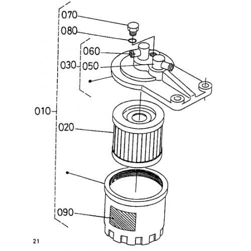 Фильтр топливный Kubota D1402
