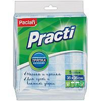 """Салфетки для уборки Paclan """"Practi"""", набор 5шт., вискоза, 35*35см, европодвес"""