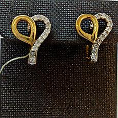 Золотые серьги «сердечки»