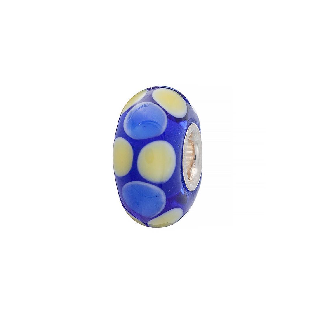 Шарм из серебра и муранского стекла синего цвета. Вес: 2 гр, цвета: голубой, желтый