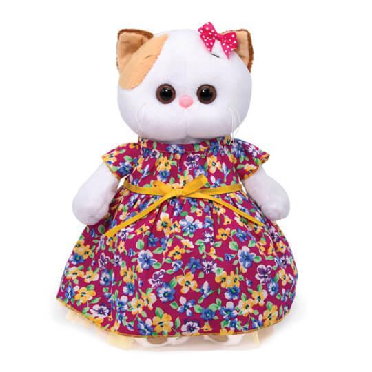 Мягкая игрушка Кошечка Ли-Ли в платье с цветочным принтом, 24 см