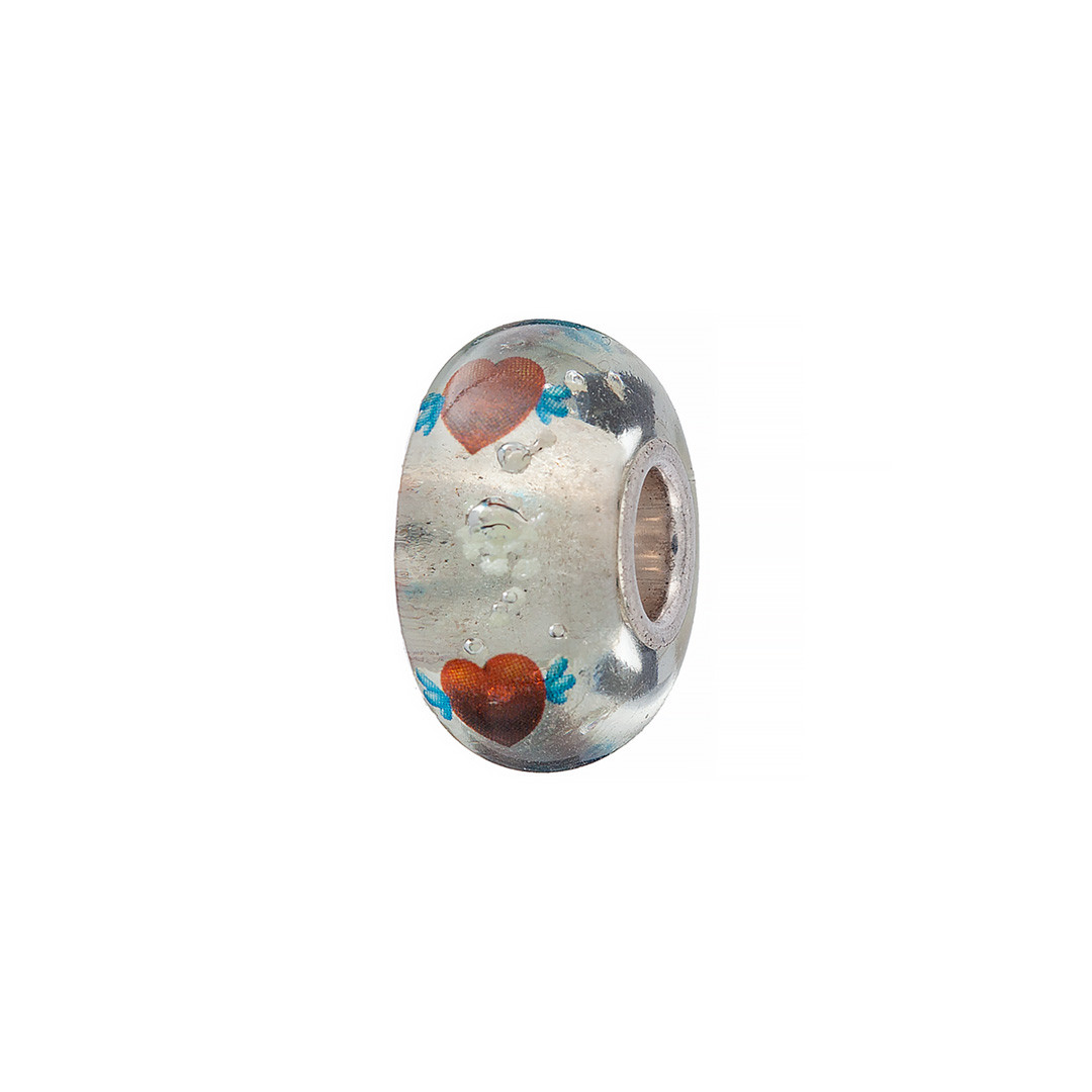 Шарм из серебра и муранского стекла прозрачного цвета с изображением сердец. Вес: 2,4 гр