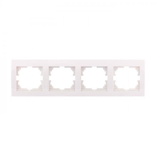 Рамка 4-ая горизонтальная б/вст. белая Мира 701-0200-149