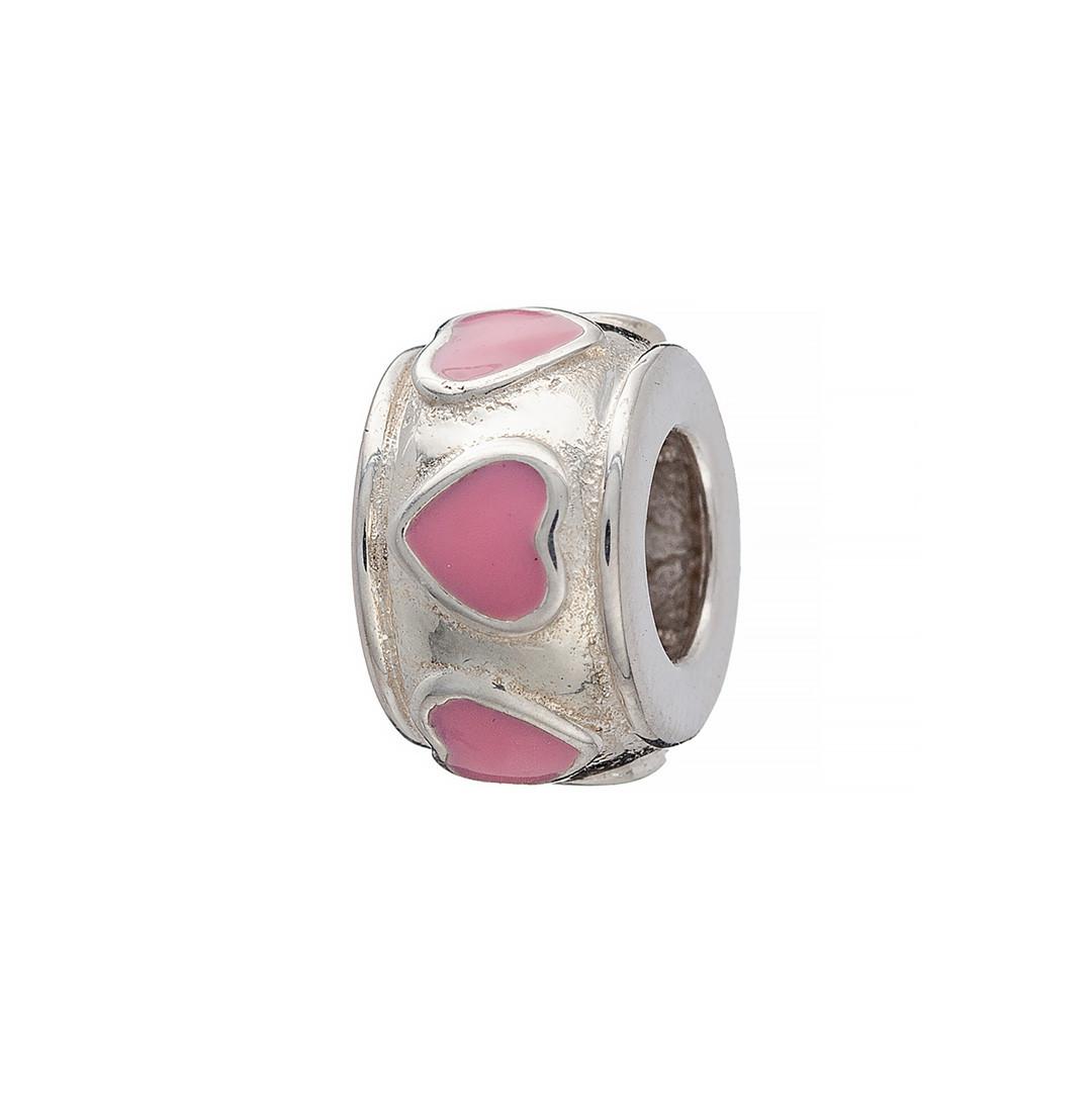 Серебряный шарм любящие сердца. Вставка: розовая эмаль, вес: 3,1 гр, покрытие родий
