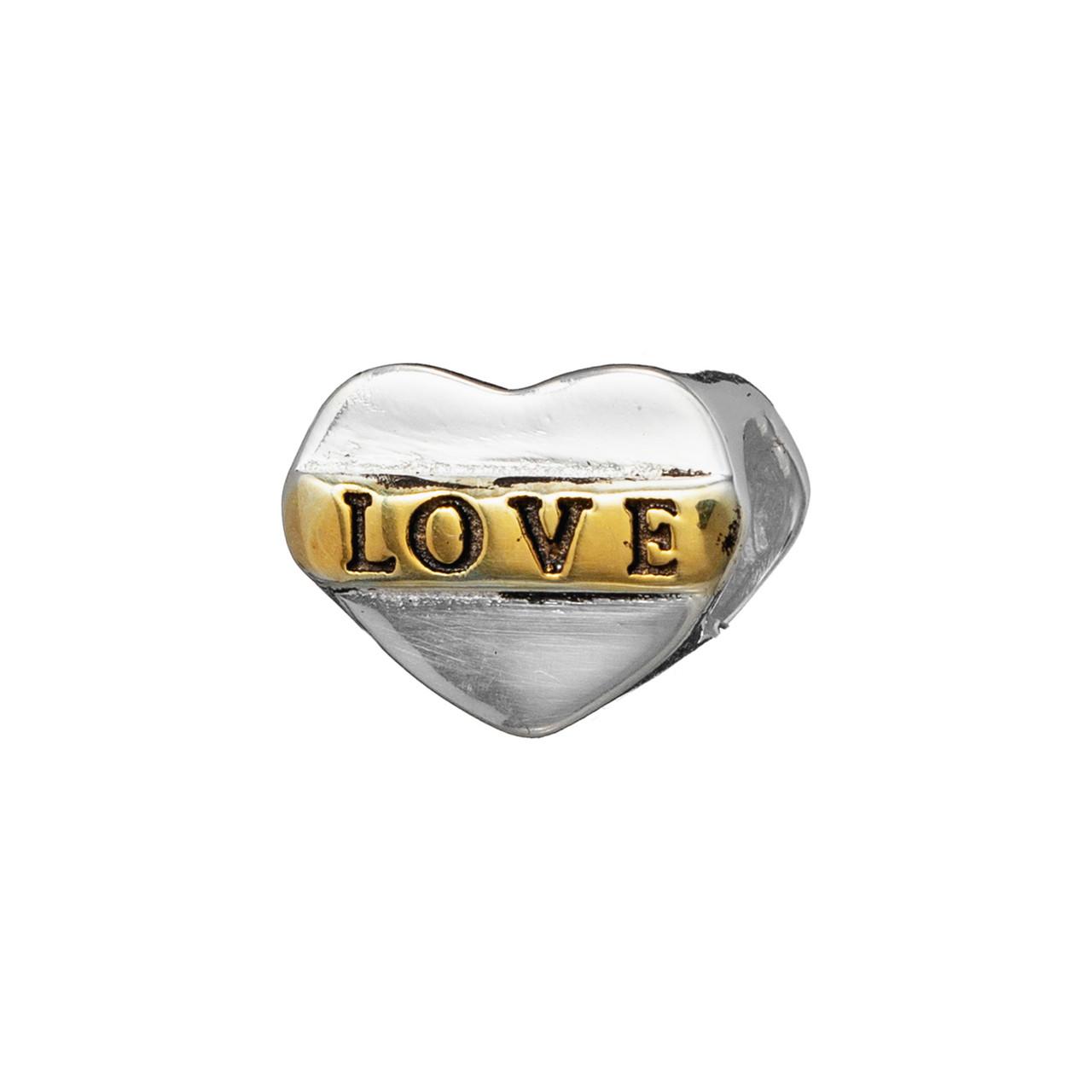 """Серебряный шарм """"LOVE"""" с желтой позолотой . Вес: 2 гр, покрытие родий"""